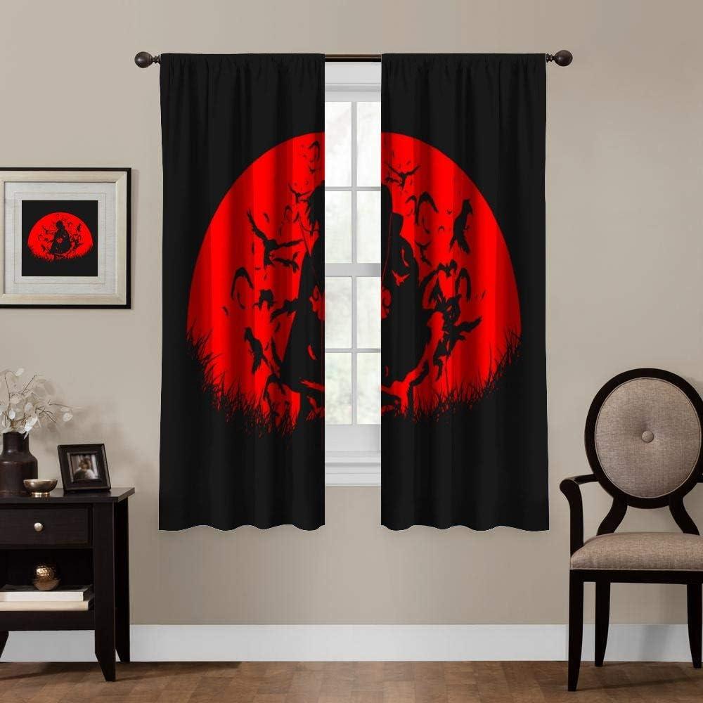 Blackout Curtains,Naruto Akatsuki Itachi (5), Rod Pocket Thermal Insulated Darkening Window Drapes for Bedroom, Cute Animal Boys Girls Room Décor