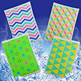 HiFineCare Ice Pack for Lunch Boxes - 4 Reusable Packs - Keeps Food Cold - Cool Print Bag Designs - Great for Kids or Adults Lunchbox and Cooler