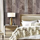 "YT531 Wood Texture Wallpaper Rolls, Slategray/Brown Faux Wood Plank Wallpaper Murals Home Kitchen Bedroom Living Room Decoration 20.8"" x 31ft"