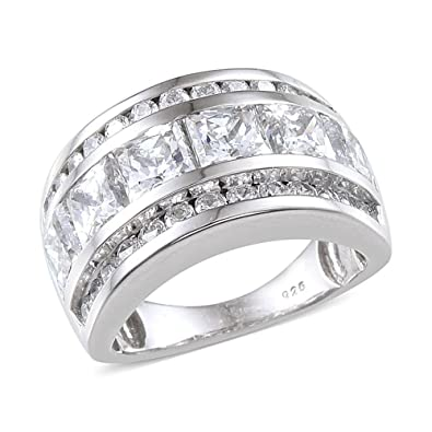 J FRANCIS Women Platinum Plated Sterling Silver Made with Swarovski® Zirconia Halo Ring Size N 4HF9AVb07