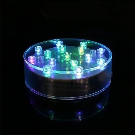 LACGO White acrílico redondo LED luz de la placa, 15 LEDs florero base de luz
