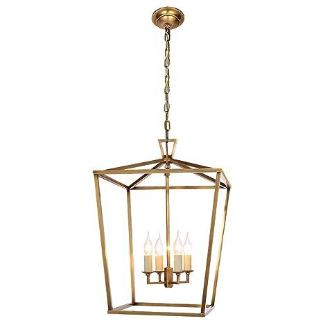 Lámpara de iluminación de metal 4 LED, jaula de hierro forjado en ...