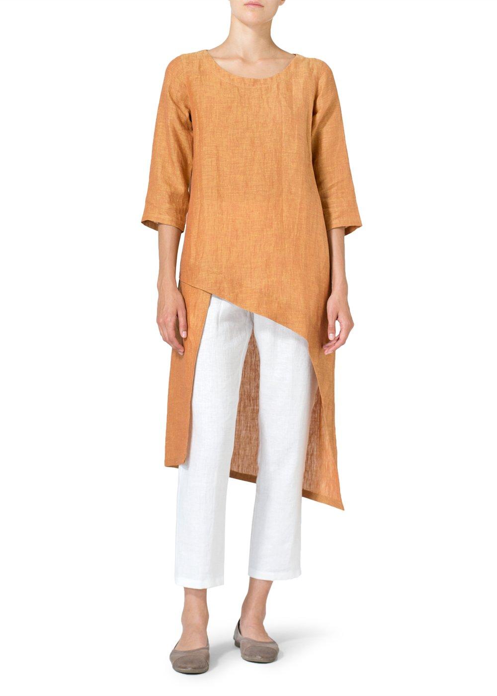 Vivid Linen Asymmetrical Tunic-S-Golden Brown