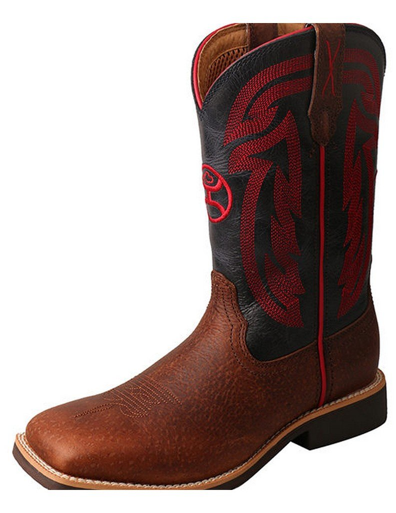 Twisted X Boots HOOey Western Boots Boy Girl Crepe Gold Buckle 4 Youth Peanut YHY0008