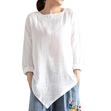 41cd1c4b2 DIKEWANG Ladies Vintage Cotton Linen Long Sleeve Shirt, Women's New Cotton  Linen Tunic Tee Shirt