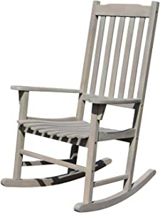 Northbeam Outdoor Solid Acacia Hardwood Slatted Back Rocking Chair for Deck, Porch, & Patio Seating with 250 Pound Capacity, Grey