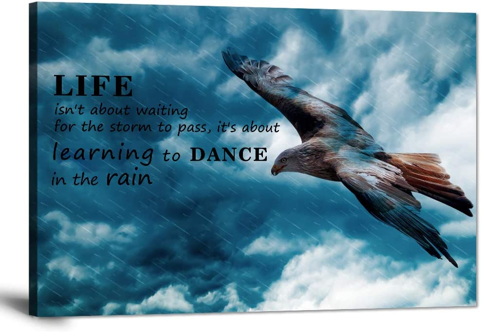 "Inspirational Canvas Wall Art Motivational Posters Success Painting Learning to Dance in The Rain Pictures Positive Office Quotes Prints Artwork for Living Room Teen Bedroom Framed (12""Hx18""W)"