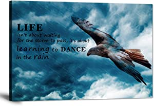 """Inspirational Canvas Wall Art Motivational Posters Success Painting Learning to Dance in The Rain Pictures Positive Office Quotes Prints Artwork for Living Room Teen Bedroom Framed (12""""Hx18""""W)"""