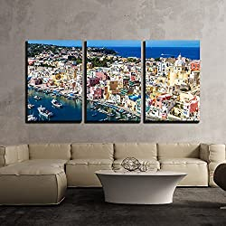 "wall26 - 3 Piece Canvas Wall Art - Procida Island in a Beautiful Summer Day in Italy - Modern Home Decor Stretched and Framed Ready to Hang - 16""x24""x3 Panels"