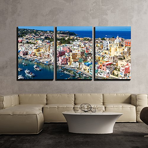 wall26 - 3 Piece Canvas Wall Art - Procida Island in a Beautiful Summer Day in Italy - Modern Home Decor Stretched and Framed Ready to Hang - 16