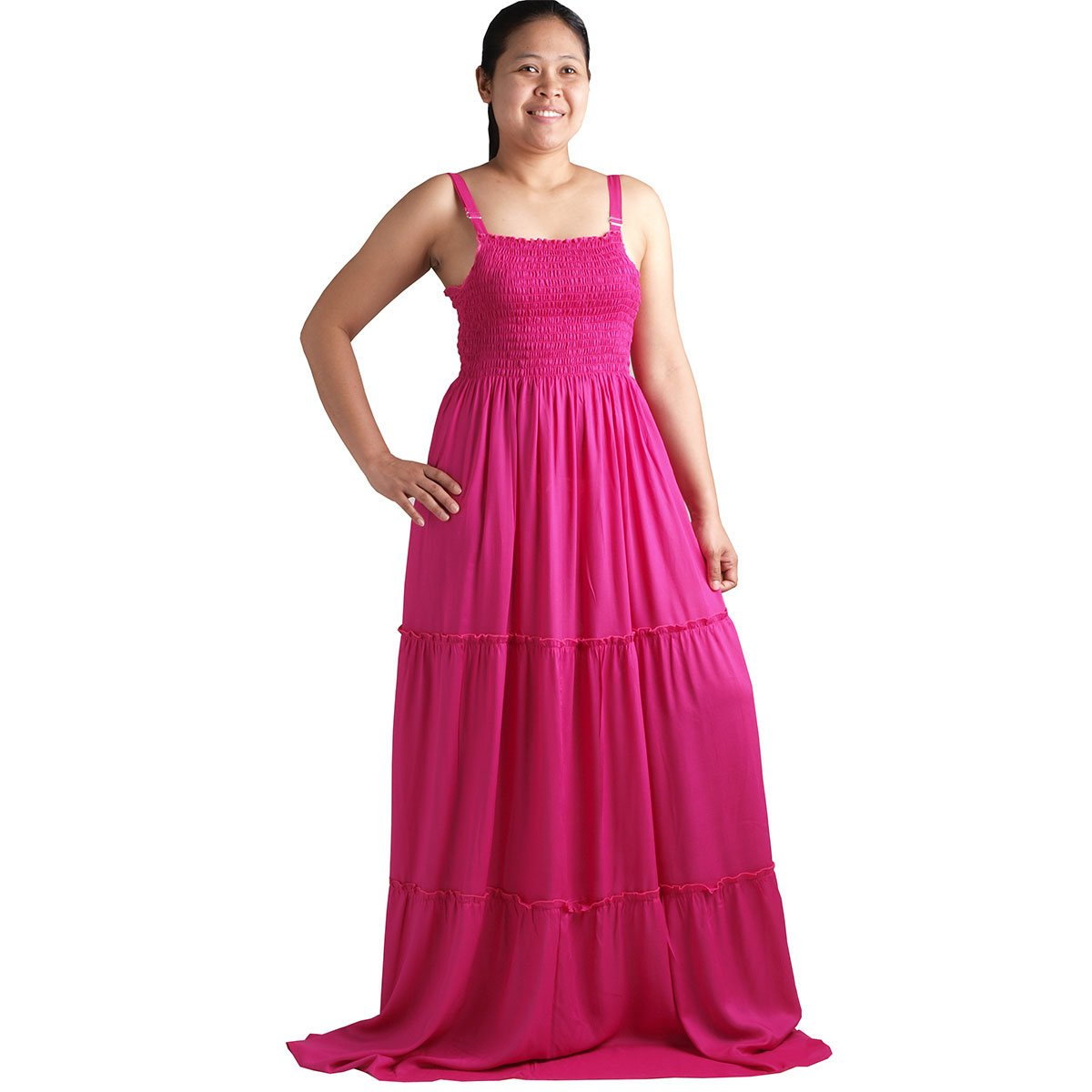 Plus Size Smocked Strap Maxi long Dress - MD0405-Hot Pink at ...