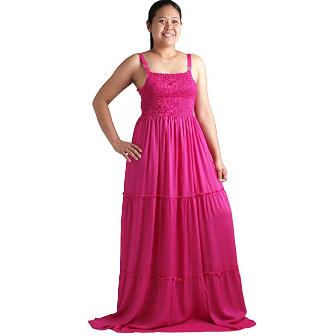 3f80a6aa273 Plus Size Smocked Strap Maxi long Dress - MD0405-Hot Pink at Amazon ...