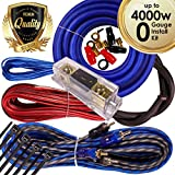 Complete 4000W Gravity 0 Gauge Amplifier Installation Wiring Kit Amp PK2 0 Ga Blue - For Installer and DIY Hobbyist - Perfect for Car / Truck / Motorcycle / RV / ATV