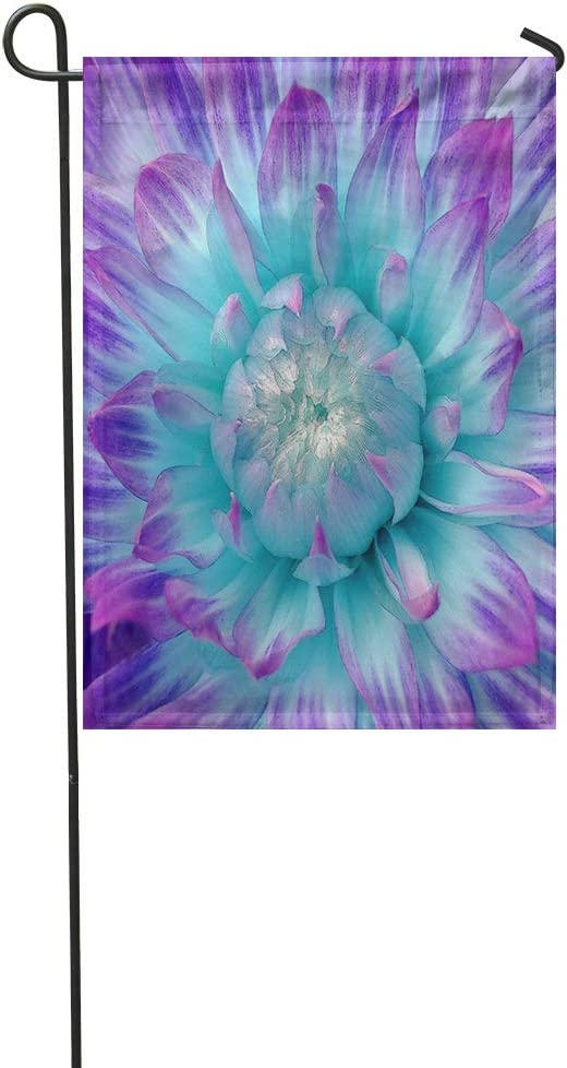 Suklly Garden Flag Purple and Aqua Colored Dahlia 12x18 Inch Polyester Fabric Flags Home Decorative Sign Banner Suitable for Courtyard Outdoor Lawn
