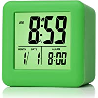 Plumeet Easy Setting Digital Travel Alarm Clock with Snooze, Soft Nightlight, Large Display Time & Month & Date & Alarm, Ascending Sound Alarm & Handheld Sized, Best Gift for Kids