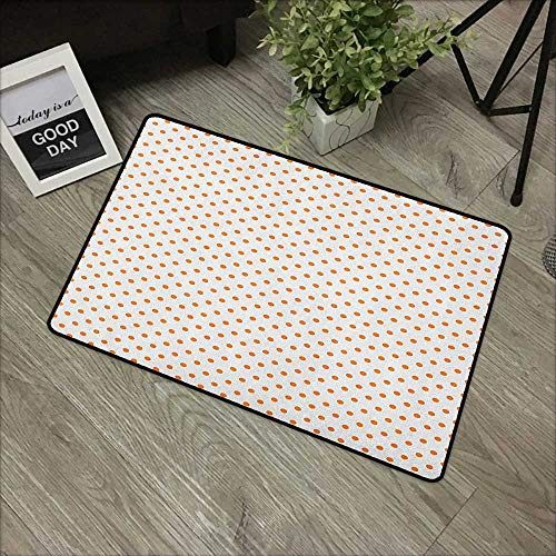 Outdoor Door mat W35 x L47 INCH Orange,Little Orange Polka Dots on Blank Backdrop Spotted Tile Pattern Retro Style Print, Orange White with Non-Slip Backing Door Mat Carpet ()