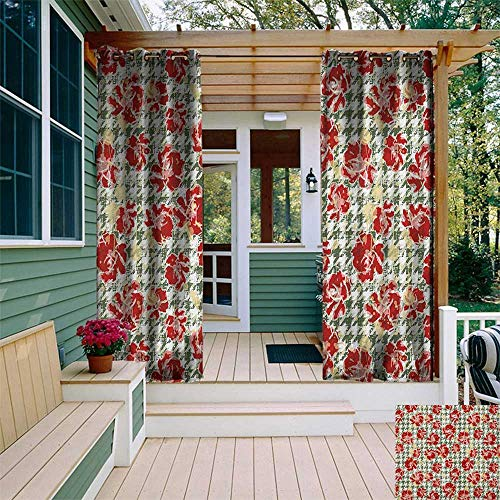 (leinuoyi Floral, Outdoor Curtain Waterproof, Vintage Classic with Scottish Houndstooth Vivid Rose Florets Feminine Pattern, for Balcony W72 x L108 Inch Hunter Green Ruby)