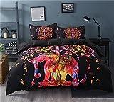 Sleepwish Super Soft Duvet Cover Set with 2 Pillow Shams,Elephant Mandala Pattern,Bohemia Exotic Patterns Design (Queen, Black Cool)