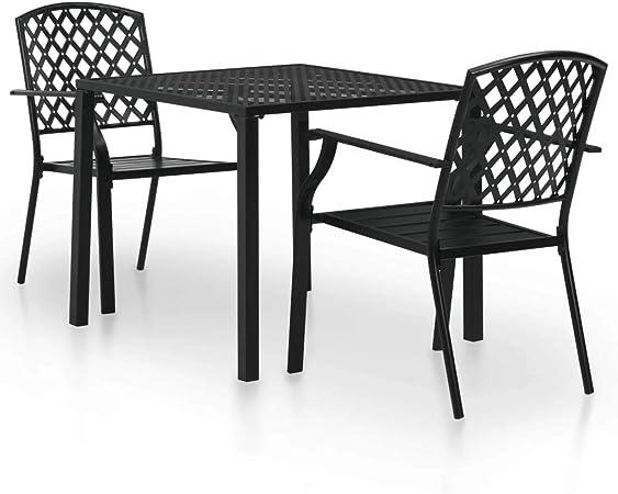 vidaXL Conjunto Jardín 3 Piezas Set Mesa 2 Sillas Metal Apilables Patio Negro: Amazon.es: Hogar