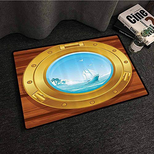 Nautical Decor Collection Interesting Doormat Brass Porthole on a Wooden Panel and Palm Trees Island Birds Image Pattern Country Home Decor W24 xL35 Golden Peru Blue Brass Sunburst Sunburst Collection