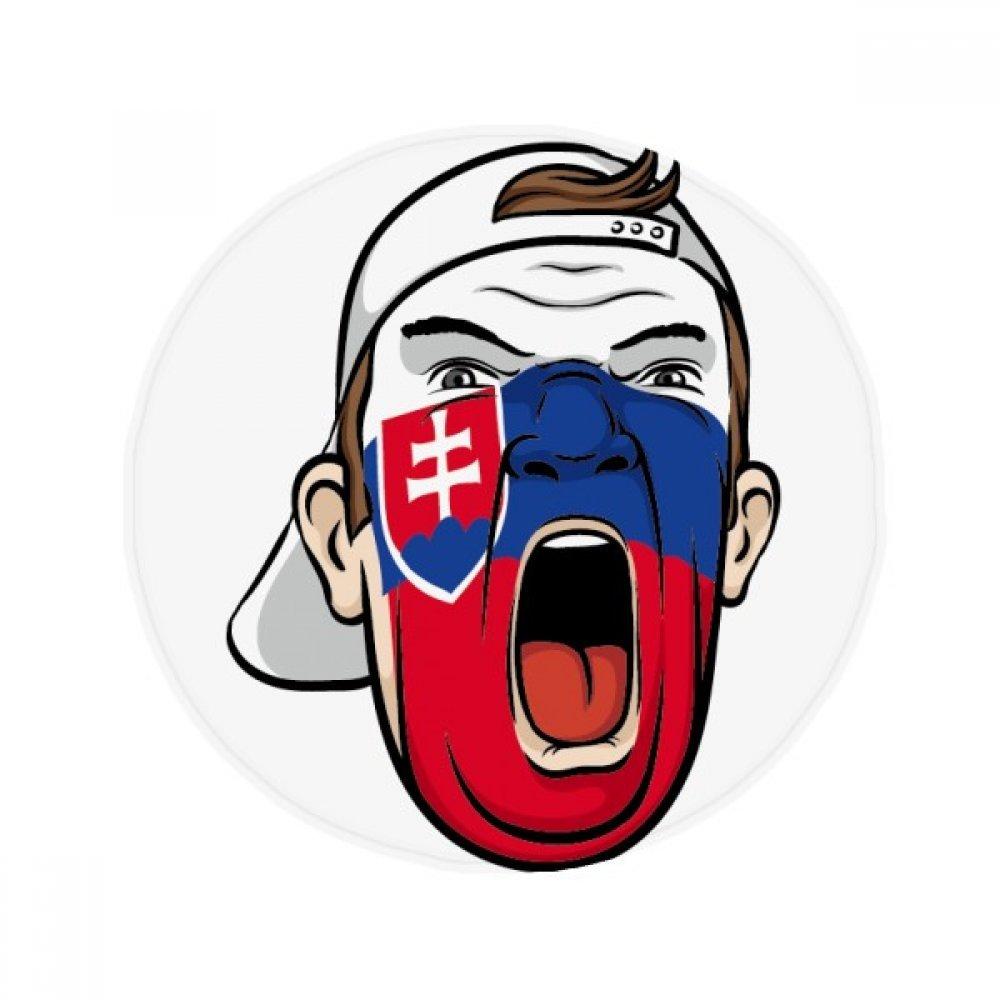 60X60cm DIYthinker Slovakia Flag Facial Painting Makeup Cap Anti-Slip Floor Pet Mat Round Bathroom Living Room Kitchen Door 60 50Cm Gift