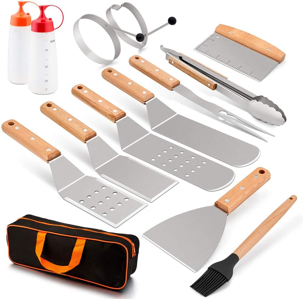 HaSteeL Griddle Accessories Kit 14 PCS, Metal Griddle Spatula Set with Carrying Bag, Stainless Steel Grill Spatulas/Scrapers/Tong/Meat Fork/Brush/Egg Rings/Bottles for Teppanyaki BBQ Flat Top Cooking