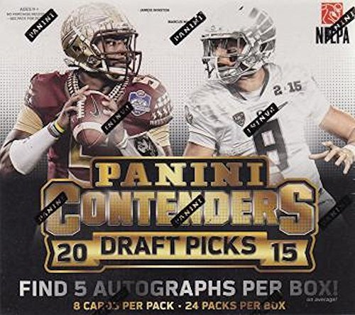 Picks Football Box - 2015 Panini Contenders Draft Picks Football Hobby Box (24 packs/box, 6 cards/pack, 5 Autos per box from 2015 NFL Rookie Class. NFL stars in their college uniforms). In Stock!!