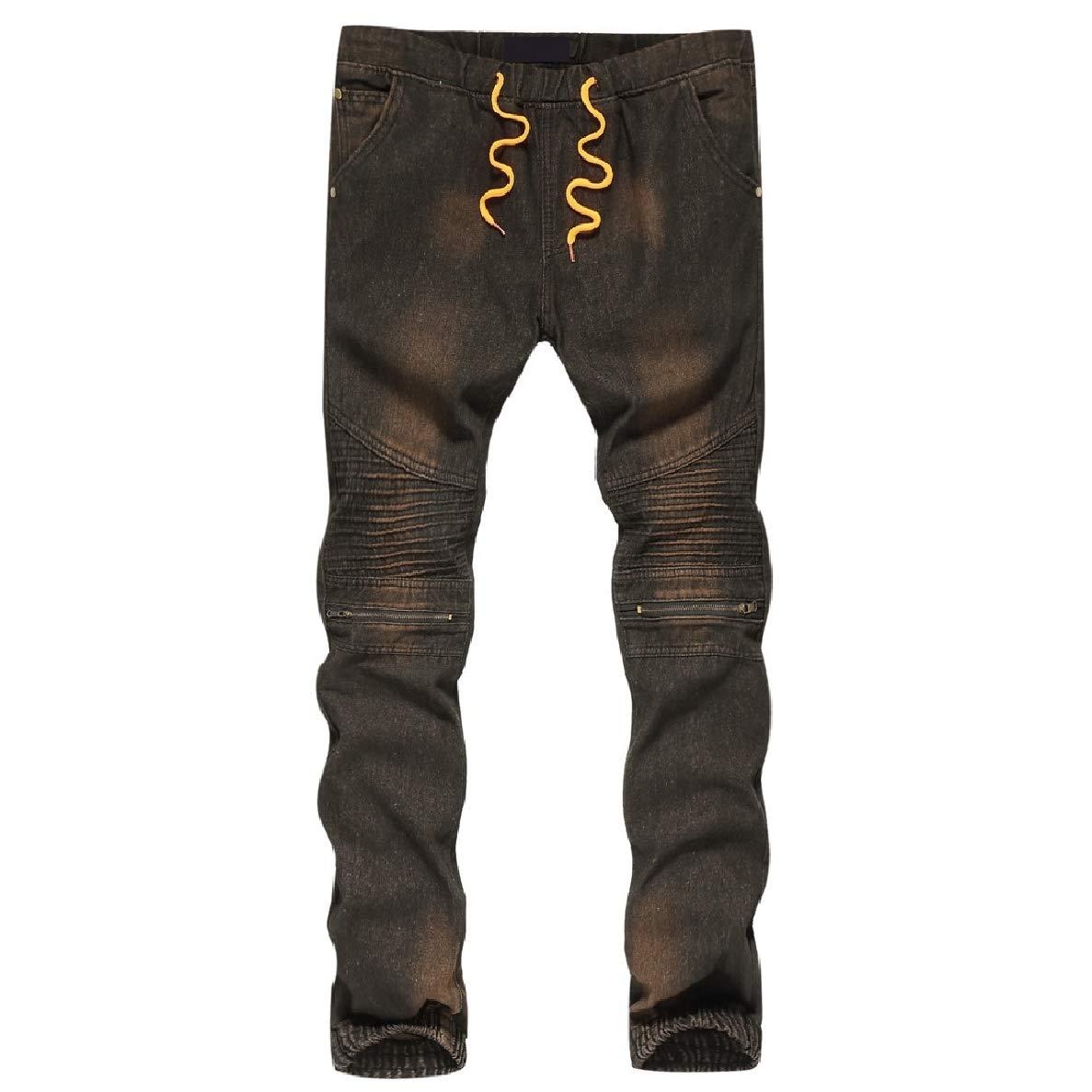 Winwinus Men Fashion Faded Beam Foot Ruffle Casual Zipper Standard-fit Jeans