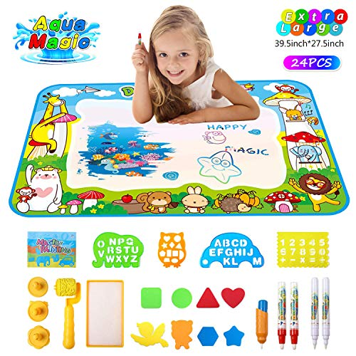 (Aqua-Magic Mat Water Doodle-Mat for Kids Mess Free Painting Educational Writing Mats Gifts Learning Birthday Toys for Toddler Boys Girls 39.5