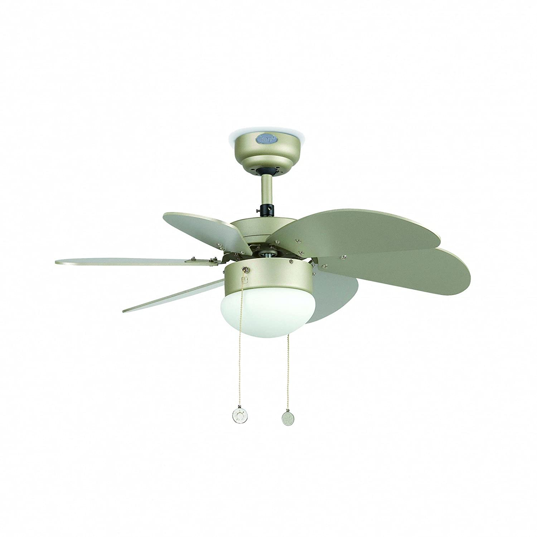Barcelona Palao Faro 33186 Fan mit Licht, 40 W, stahl, Klingen der MDF und Opal Glas, grau