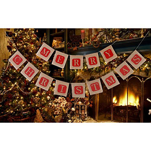 NUOLUX Merry Christmas Jute Burlap Banners,Christmas Banner,Christmas Decoration