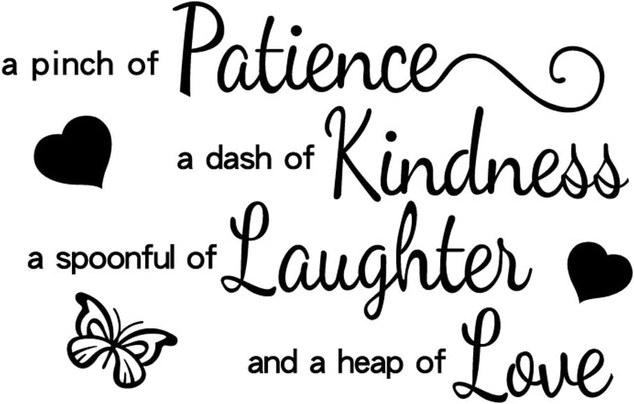 A Pinch of Patience A Dash of Kindness A Spoonful of Laughter and A Heap of Love Vinyl Wall Decal Art Letters Kitchen Decor