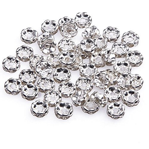 (Beautiful Bead 6mm Rhinestone Crystal Rondelle Spacer Beads Silver Plated for DIY Jewelry Making (About 100pcs))