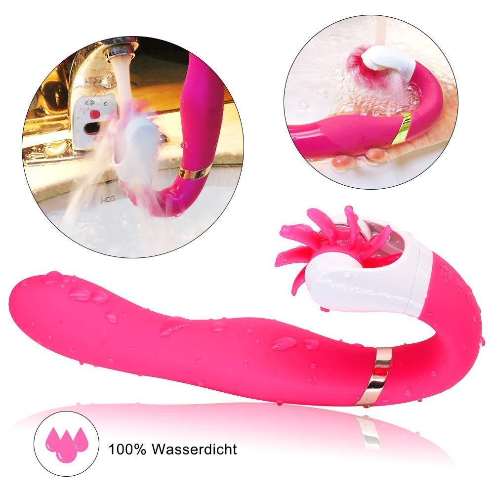 Vibratoren für sie,Doppelmotoren Zungenlecken Vibrator für die Klitoris und G-punkt mit 12 Geschwindigkeit Rotation, (Rosa)