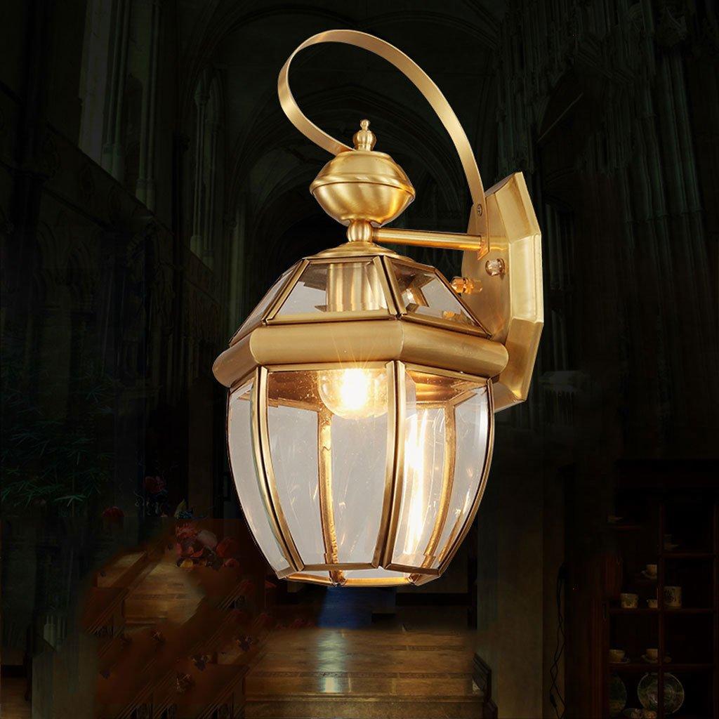 Lampada da parete HUA-Outdoor pieno di rame europeo Lampada da cortile testiera del letto della lampada da parete della luce di ingresso corridoio lampada balcone navata retrò impermeabile