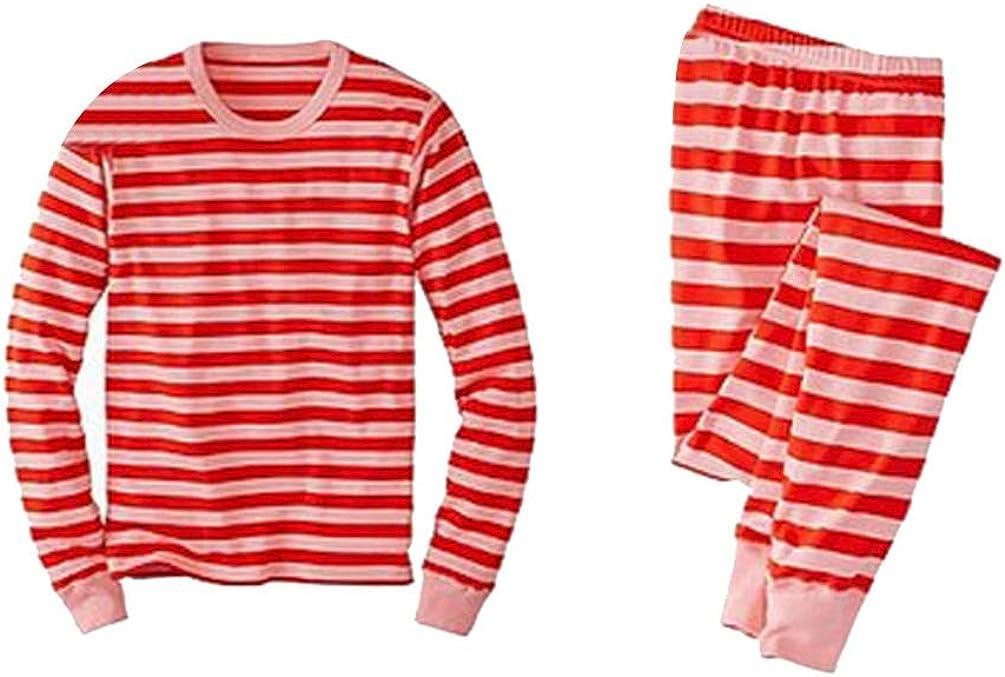 LvRao Casuale Famiglia Pigiama di Natale Morbido Sleepwear a Strisce Tuta Maglietta Pantaloni Lunghi