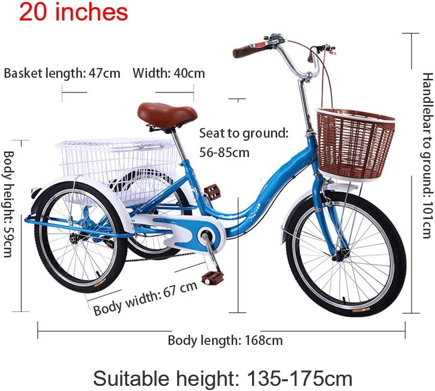OFFA Adult Tricycle Three Wheel Trike with Low-Step Through Frame//Backrest Saddle for Men Seniors Color : Blue-a, Size : 20 inch 20 Inch 3 Wheel Bikes Cruiser Bicycles with Large Basket Women