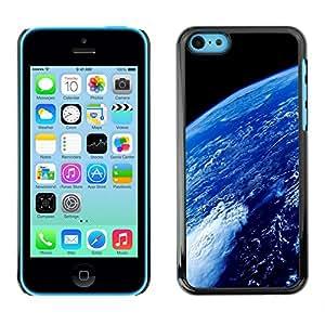 QCASE / Apple Iphone 5C / ambiente planeta tierra azul espacio oceánico / Delgado Negro Plástico caso cubierta Shell Armor Funda Case Cover