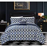 8 Piece Navy White Geometric Queen Duvet Cover Set,Blue Ikat Jacquard Theme Diamond Pattern Bedding,Boho Chic Medallion Geometrical Southwest Contemporary Trendy Sleek Reversible, Microfiber Polyester