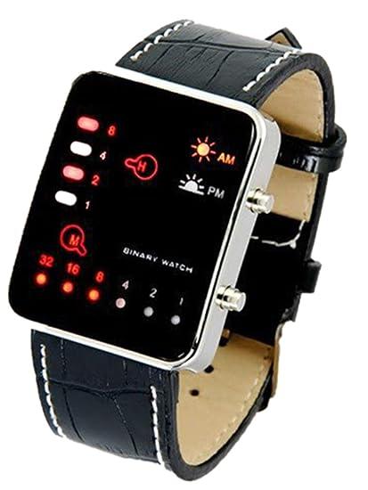 feiXIANG® 🙈 - Reloj de pulsera binario de cuarzo. Con pantalla digital de ledes rojos. Para hacer deporte. Con correa de piel sintética Negro: Amazon.es: ...