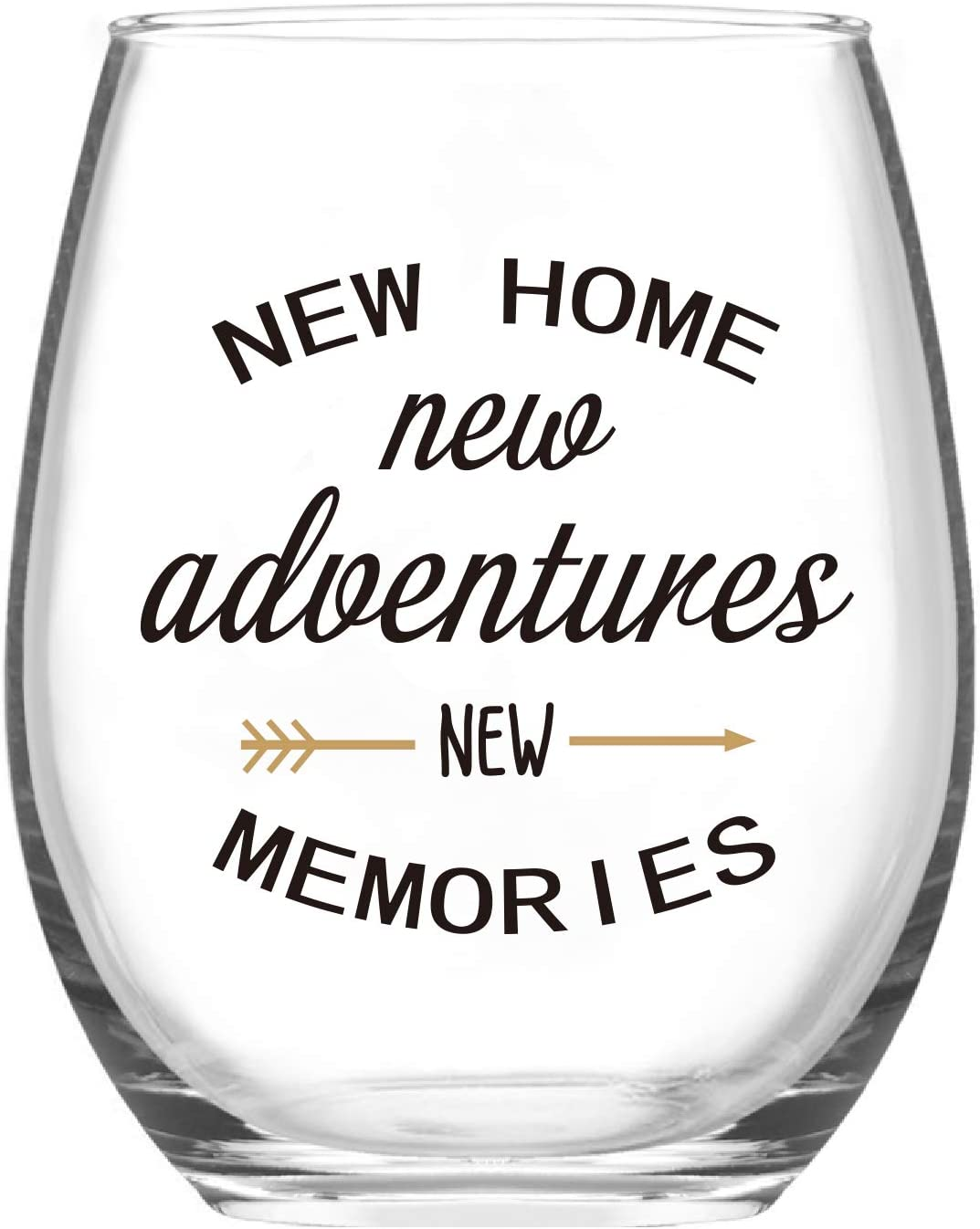 Housewarming Gifts, New Home New Adventures New Memories Stemless Wine Glass for New Home House Owner Friends Couple Women Men Party Christmas, Funny New Home Owner Presents Ideas
