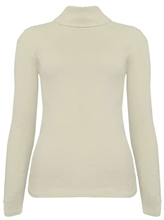 46192ad73d968c RIBBED ROLL NECK TOP, Cream L/XL (UK 16-18): Amazon.co.uk: Clothing
