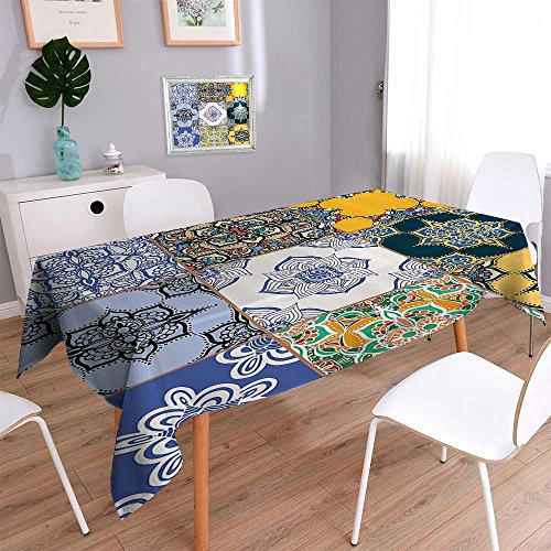 Decorative Jacquard Rectangle Tablecloth mMulti of Islamic and Portuguese Tile Patterns in Various TES and Textures Table Cover for Dining Room and Party 52''x70'' by Vanfan