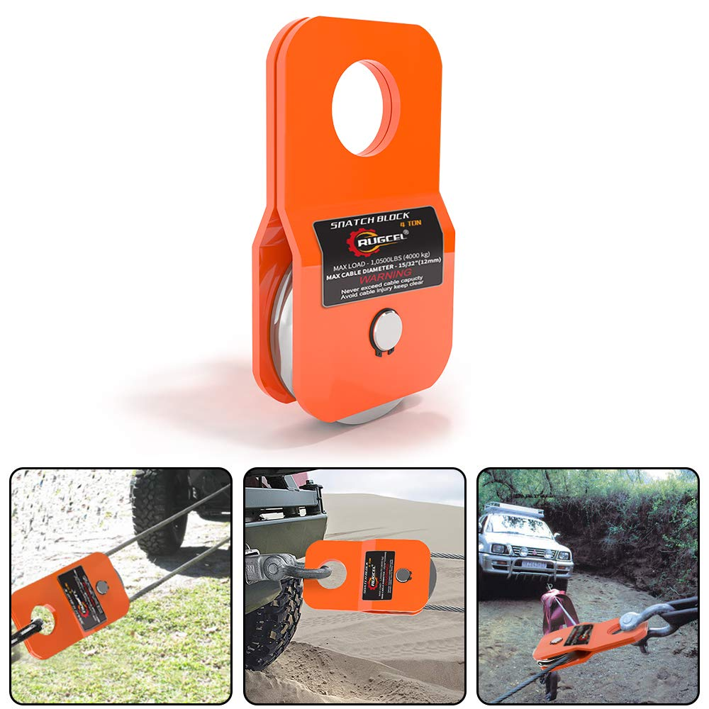 Red RUGCEL Winch 4.8T Heavy Duty Recovery Winch Snatch Block,10500lb Capacity