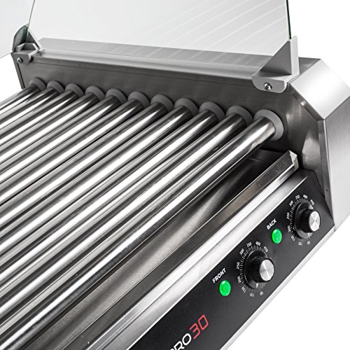 Olde Midway Electric 30 Hot Dog 11 Roller Grill Cooker Machine 1200-Watt with Cover - Commercial Grade