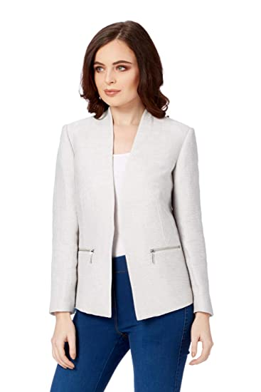 f083b4980eb0b Roman Originals Women's Tailored Fit Smart Office Blazer Jacket - Ladies  Mother of The Bride Groom Lightweight Summer Jackets Business Wear Special  Occasion ...