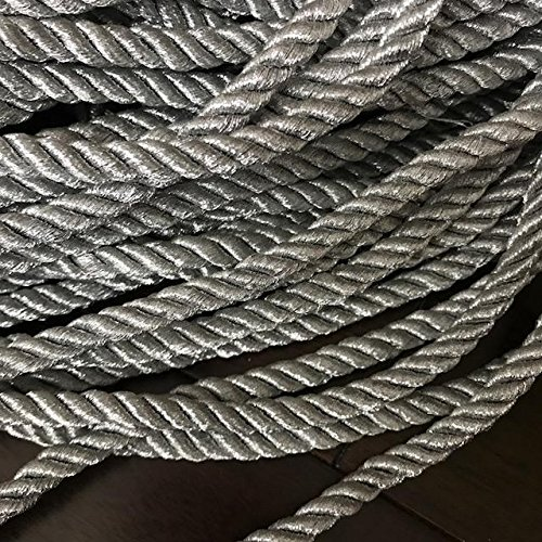 8mm Twisted Metallic Silver cord Silver rope decoration trim braided cord Shiny Cord Choker Thread Twine String/Price per 5 yards Silver Braided Trim