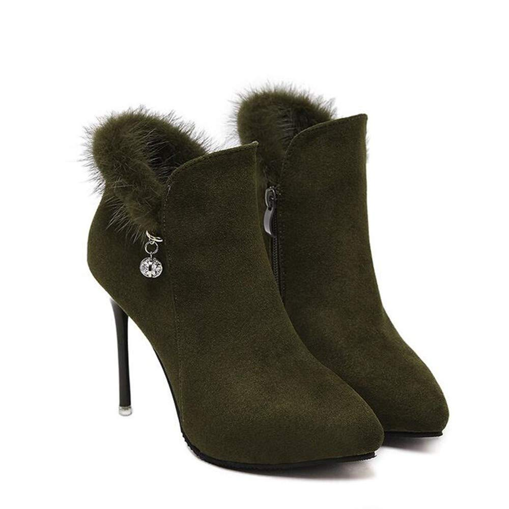 HCBYJ High Heels Heels Heels Herbst und Winter Exquisite Ferse Martin Stiefel Diamant Metall Dekorative Stiefel High Heel Damenschuhe ada3e4