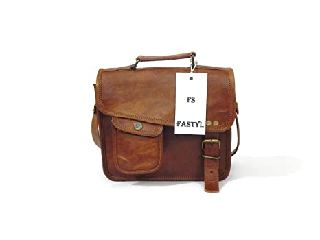 """87ba04225b Image Unavailable. Image not available for. Color  Fastyl 9""""Lago Genuine Leather  Cross Body Shoulder Sling Satchel Bag ..."""