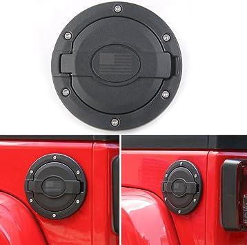Black Aluminum Fuel Cover Gas Tank Cap-Front Face fit 2007-2018 Jeep Wrangler JK